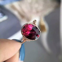 Natural Red Garnet Stone Ring Natural Gemstone Ring 18k Rose Gold Diamond Trendy Luxury Round Women