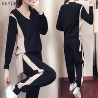 2019 Autumn New Knitted 2 Piece Set Women Sporting Wear Suits Knitting Pulovers Seeater + Ankle length Pants Female Tracksuit