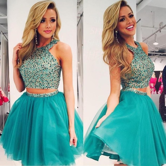 New Fashion Tulle Halter Two Pieces Blue Homecoming Dresses 2016 With Beaded Crystal Mini Short A-Line Short Prom Dress