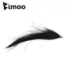 Bimoo 2 pçs tamanho 2 # enganador preto moscas de água salgada pique streamer voar para voar pesca moscas