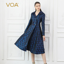 VOA Silk Jacquard Trench Coat Women Windbreaker Fall Long Sleeve Military Suit Overcoat Office Ladies Vintage Outerwear F322