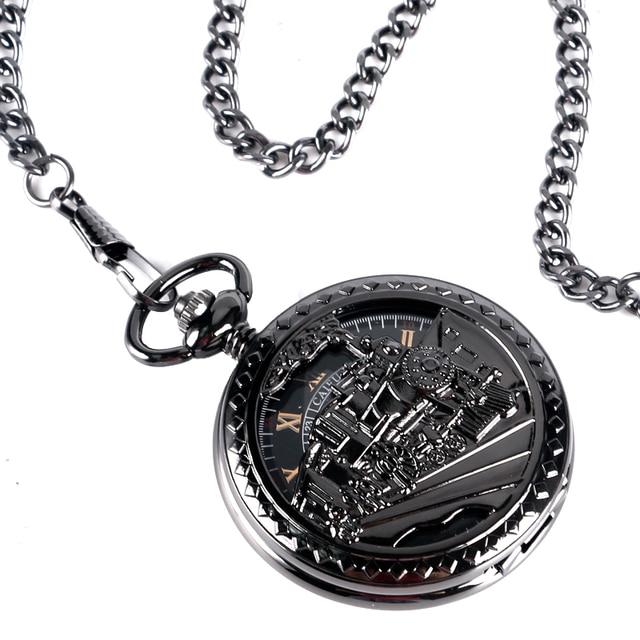 CAIFU Retro Exquisite Skeleton Running Steam Train Design Pocket Watch Black Women Men Mechanical Hand Winding Chain Gift P2033C