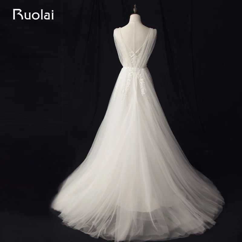 Real Photo Enkel A-Line Bröllopsklänningar Långt Blå - Bröllopsklänningar - Foto 2
