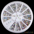 3 Wheels 6 Styles Colorful Acrylic Nail Art Stickers Tips Glitter Rhinestone Nail Decorations