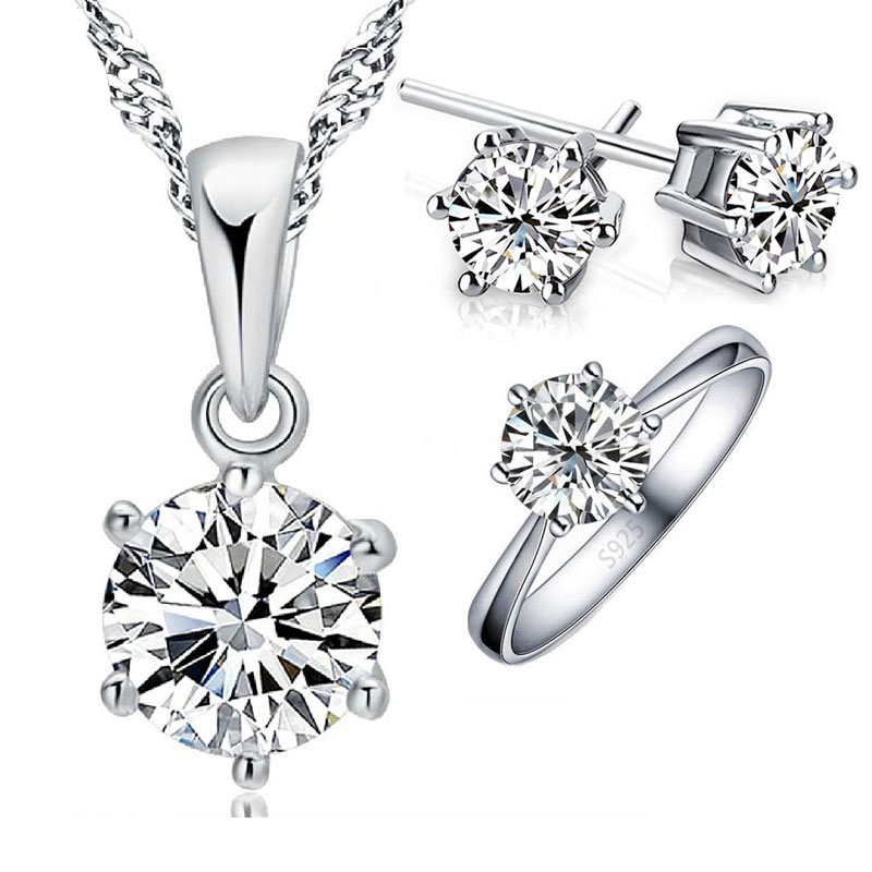 925 Sterling Silver Bridal Jewelry Sets For Women Accessory Cubic Zircon Crystal Necklace Rings Stud Earrings Set Gift(China)