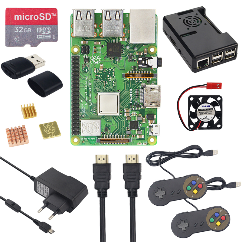 Image 2 - Raspberry Pi 3 Model B+ Plus Game Starter Kit +16G 32G SD Card + Gamepad + Case +Fan + Power +Heat Sink +HDMI Cable for RetroPie-in Demo Board from Computer & Office