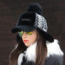 Winter Faux Cashmere Bomber Hat Women Earflap Caps Faux Fur Pompom Snow Hats Adjustable Bohemian Winter Russian Ushanka