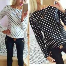 Autumn Women Bodycon Long Sleeve Polka Dot Casual Top Blouse Chiffon Sh