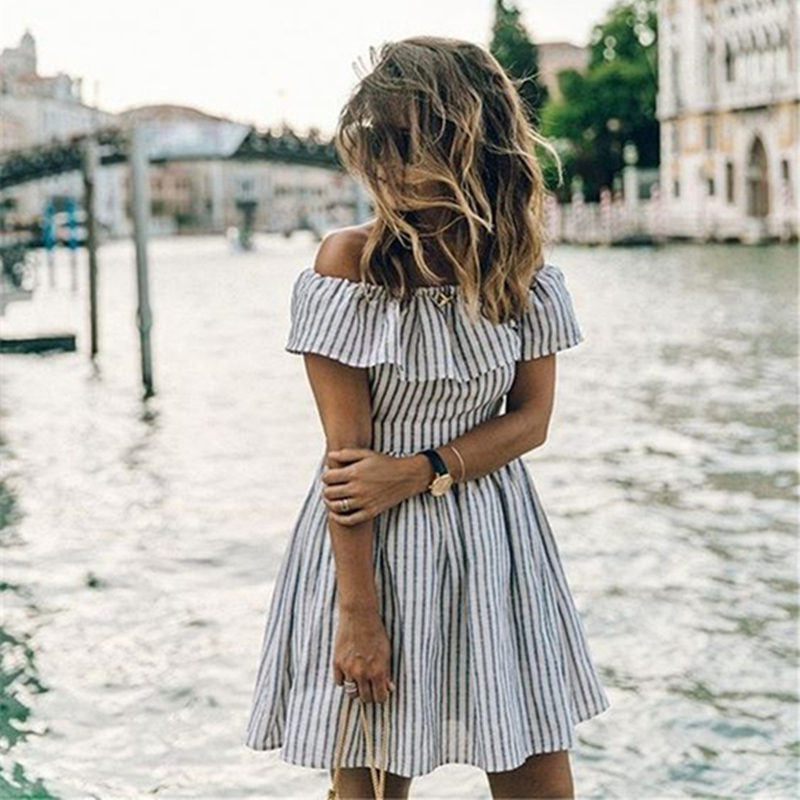 2017 New Women Summer Striped Off Shoulder Party Dress Ladies Club Sexy Beach Casual Mini Dresses