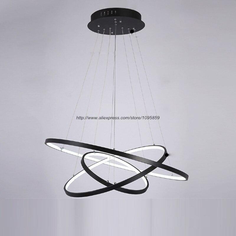 Free Shipping Modern LED Ring Chandelier Light White Black Ferris Wheel Ceiling Pendant Lamp Fixtures
