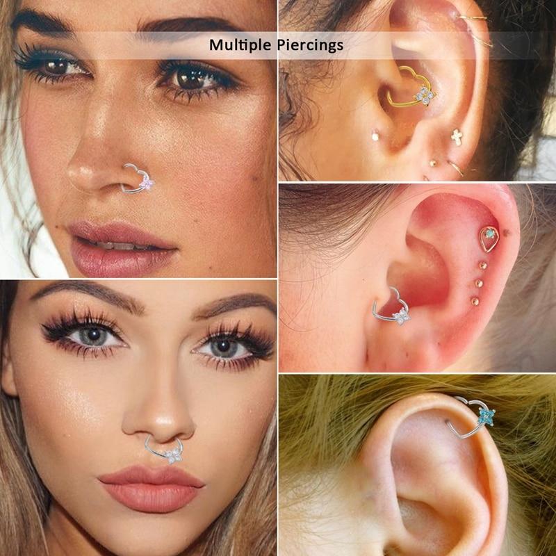 16G CZ Left Closure Daith Cartilage Tragus Earrings Septum Clicker ...