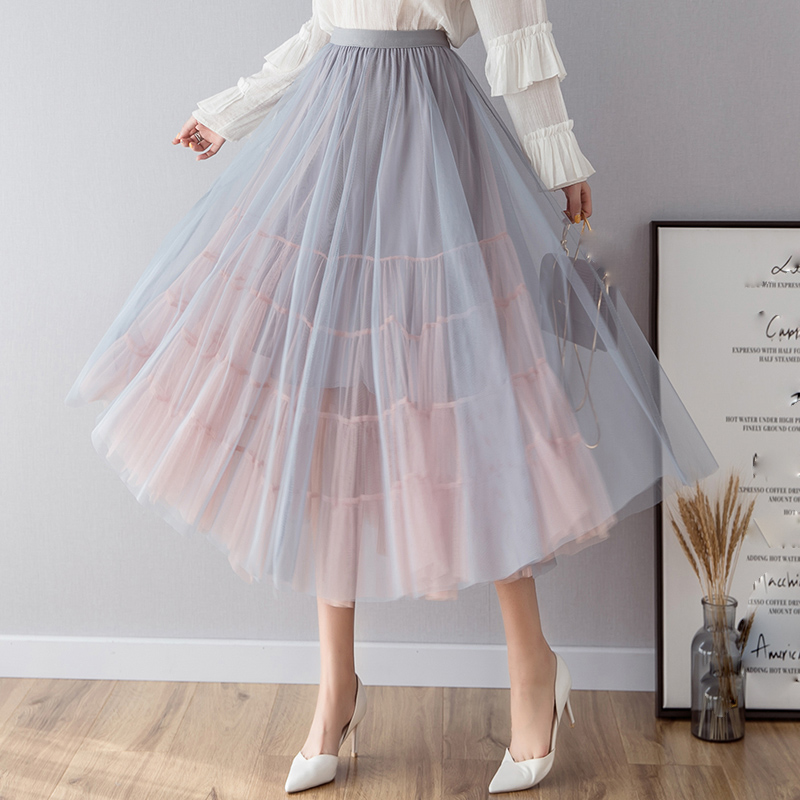 OHRYIYIE Spring Summer High Waist Tulle Skirts Women 2019 New Fashion Long Patchwork Tutu Skirt Sun Fluffy Jupe Longue Femme-in Skirts from Women's Clothing