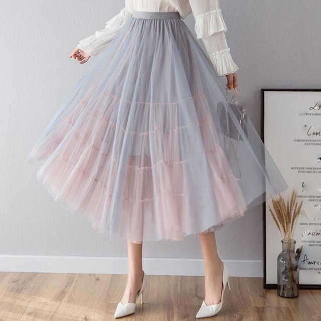 OHRYIYIE faldas de tul de cintura alta para mujer, faldas largas de retazos, tutú para el sol, Jupe largo esponjoso, para primavera y verano, 2020
