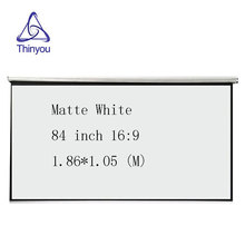 Thinyou 84 Inch 16:9 HD Projector Screen matte white Manual Pull Up Diagonal Aspect Ratio 16:9 for home cinema school office