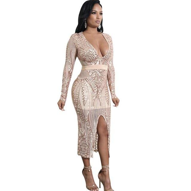 Sexy See Through Sequin Dress Long Sleeve Deep V Neck Split Bodycon Midi 2018  Dress Black 8396e034b412