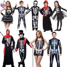 купить Adult Men Women Children halloween party cosplay skull devil ghost ghoul costumes with Skeleton printing zombie Mummy clothes по цене 877.32 рублей
