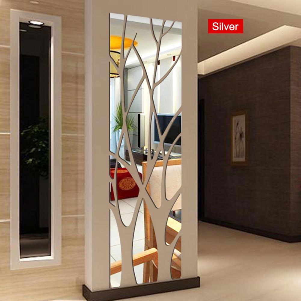 Sticker Mural miroir Style Mural amovible décalcomanie arbre Art décoration pour la maison salle tt-best