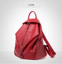Women's Rivet Hardware Genuine Cowhide Leather Backpack School Bag 2016 new design, Genuine Leather Shoulder Lady bag,