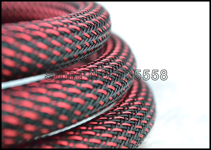 HIFI 5M 16MM Nylon Mesh Red+Black (SSS) Screen Braided Sleeving power cable wire