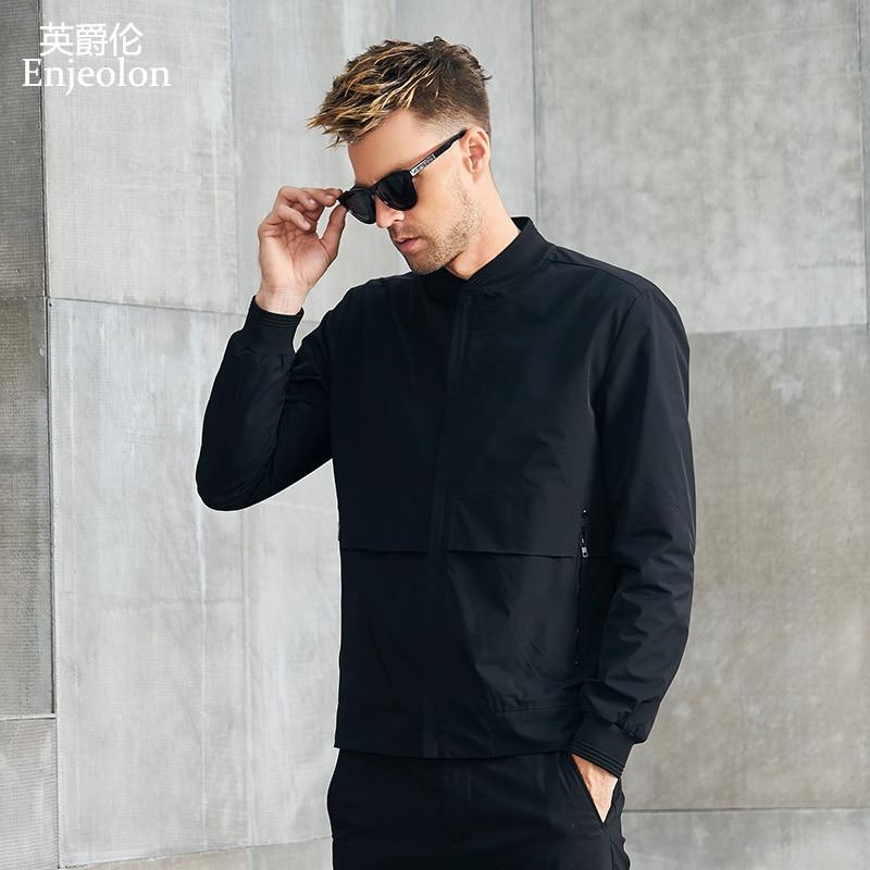 Enjeolon Brand Spring Bomber Jackets Men Concise Black Solid Men Jacket Coats Stand Collar 3XL Jacket Clothes JK625