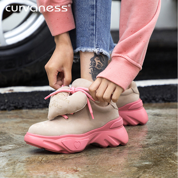 Curvaness New Platform Sneakers Women Stylish Thick Sole Running Shoes Height Increasing 5 CM Sport Shoes Woman Chaussures Femme