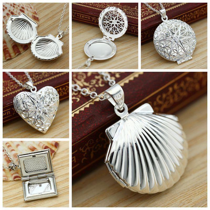 Scallop Necklace Photo Box Necklace Heart Shampoo Creative Open Photo Box Zinc Alloy Jewelery Temperament Girl