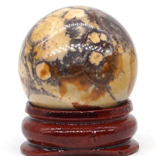 Natural Yellow Leopard Jasper  Ball Mineral Quartz Sphere Hand Massage Crystal Healing Feng Shui Home Decor Accessory 30mm