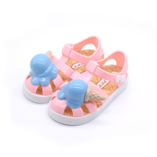 921a86d9d428c6 New Summer Princess Sandals Shoes Pink Kids Jelly Sandals For Baby Girls  Ice Cream Cone Sandals Cute Children Flat Heels Shoes