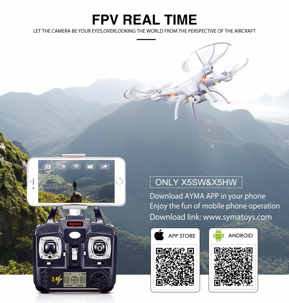 SYMA Official X5SW Drones with Camera HD WiFi FPV Real Time transmission RC Helicopter Quadrocopter RC Dron with Extra Battery 14