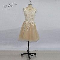 2017 Mütevazı Şampanya Dantel Kısa Balo Elbise Mezuniyet için Diz Uzunluğu Ithal Parti Elbise Vestido de Noiva Curto Homecoming