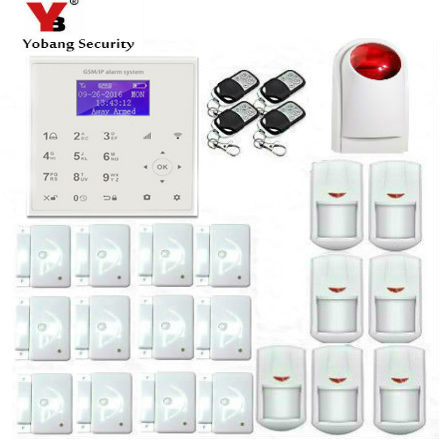 YobangSecurity Wireless Wifi Gsm Home Security Alarm System Kit with Auto Dial,Outdoor Siren PIR Motion Door Sensor Detector wireless alarm accessories glass vibration door pir siren smoke gas water sensor for home security wifi gsm sms alarm system