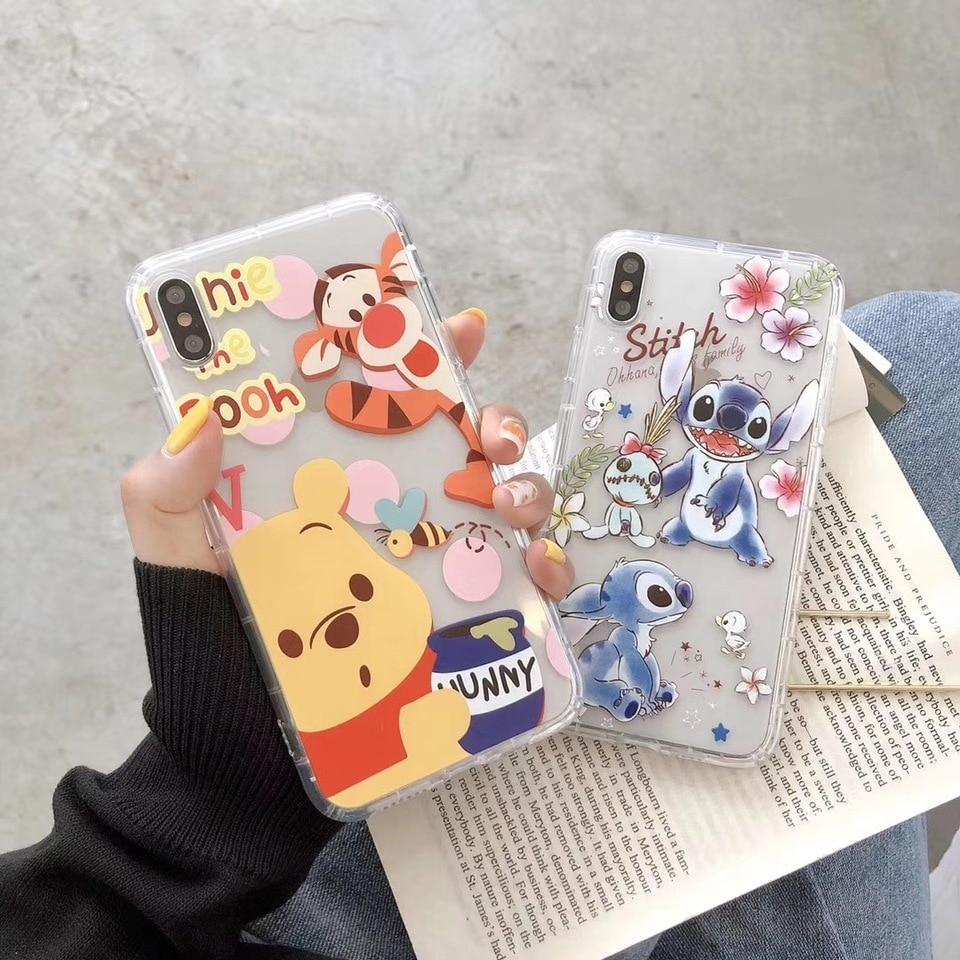Cartoon Winnie Pooh Stitch Case For Samsung S10 S9 Plus Note 9 Cute  Cinnamoroll pikachu Cover for iPhone X XS Max XR 8 7 6 Coque