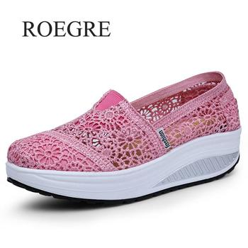 Thick Platform Shoes Increased Breathable Leisure Shoes Rocking Shoes Zapatos Bajos De Mujer Lace Openwork Female Sneaker