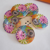 Wood Sewing Button Scrapbooking Round At Random Two Holes Flower 3.0cm Dia, 30PCs 2015 new