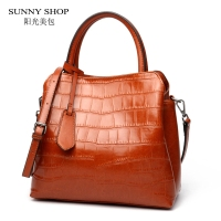 SUNNY SHOP Genuine Leather Bag For Womens Skin Shoulder Bags Crocodile Pattern Solid Zipper Handbags Casual Top Handle Bag Tote