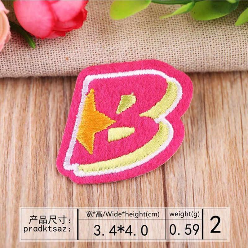 卸売 26 pc 英語ゴールデンレターブランドロゴ Diy 刺繍パッチ衣類の鉄服アップリケストライプステッカー