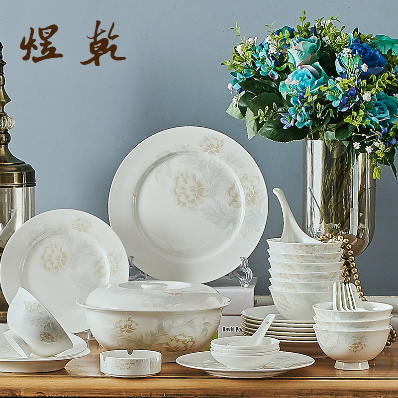Korean Style Ceramics Kitchen Dinnerware 56 PCs 45% Bone