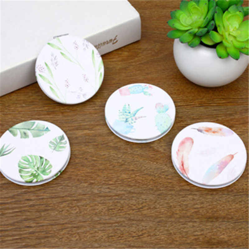 HUAMIANLI Botical Print Make Up Mirror Pu Leather Round Mini Mirror Girls Portable Mirror Double Side Folding Mirror