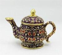 100% Handmade Enamel luxury Home Decorative Box Teapot Shape Trinket Box Wholesales