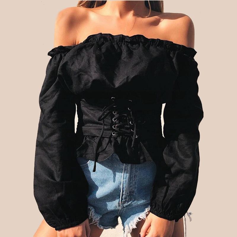 2018 New Fashion Women Crop Top Off Shoulder Lace Up Bandage Elasticity Long Sleeve Slash Neck Ruffle Casual Slim Blouse