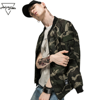 Aelfric Eden Men Army Green Military Jackets Personality MA 1 Pilot Jacket Patch Designs Zipper Camouflage