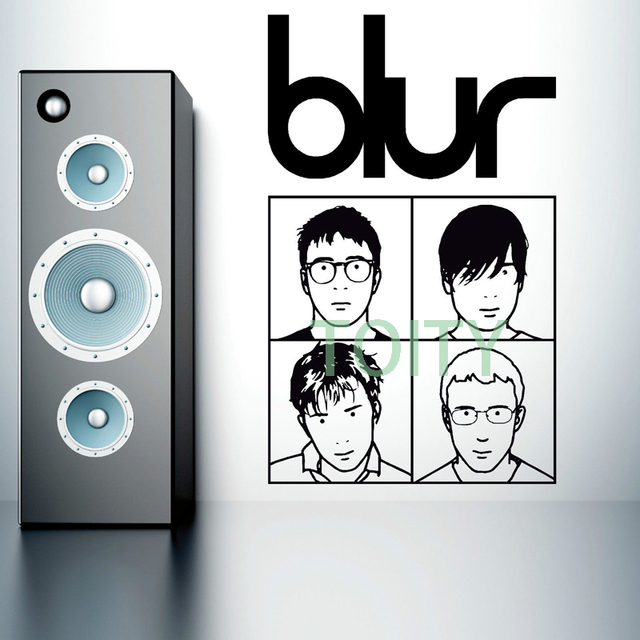 Blur logo band members wall decals music poster vinyl sticker bar decor mural h93cm x w57cm