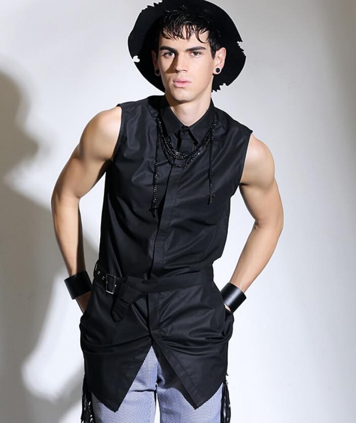 Men's new clothing sleeveless shirt male fashion medium ...
