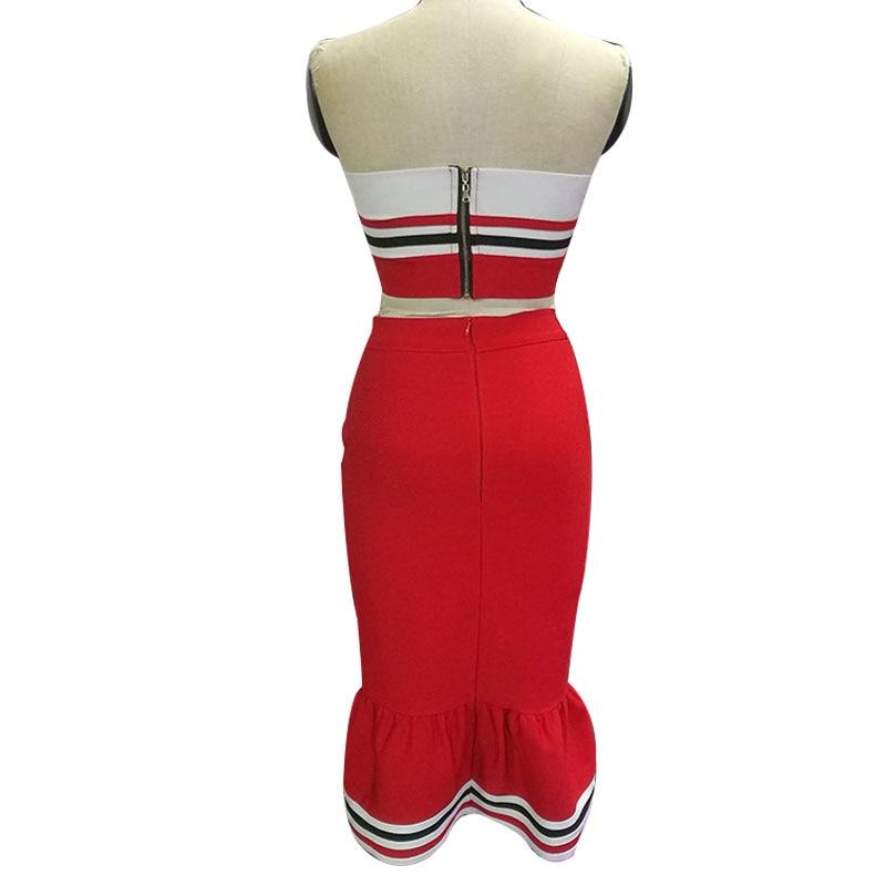 Porter De Robes Mode Slim Femmes Discothèque Rayé Fishtail Lacée Moulante Bretelles Costume Robe Longues Rouge Sexy Dame Partie OS7XaxX