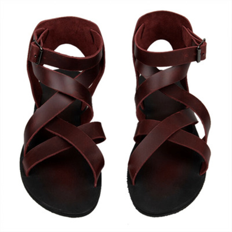 Summer Luxury Men Gladiator Sandals Fashion Male Mature Sandalias Beach Shoes Leather Flats Solid Rome Band Casual Dress Sandals