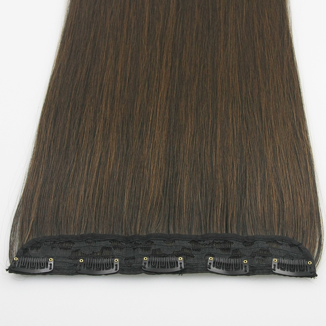 Soowee 60cm Long Straight Women Clip in Hair Extensions Black Brown High Tempreture Synthetic Hair Piece 6