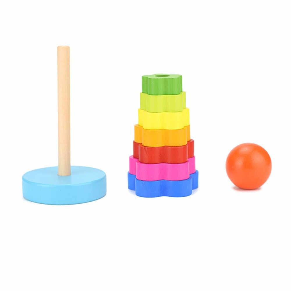 Детские деревянные игрушки штабелирование кольцо башня Stapelring блокирует обучение Развивающие игрушки для детей Радуга стек деревянные игрушки