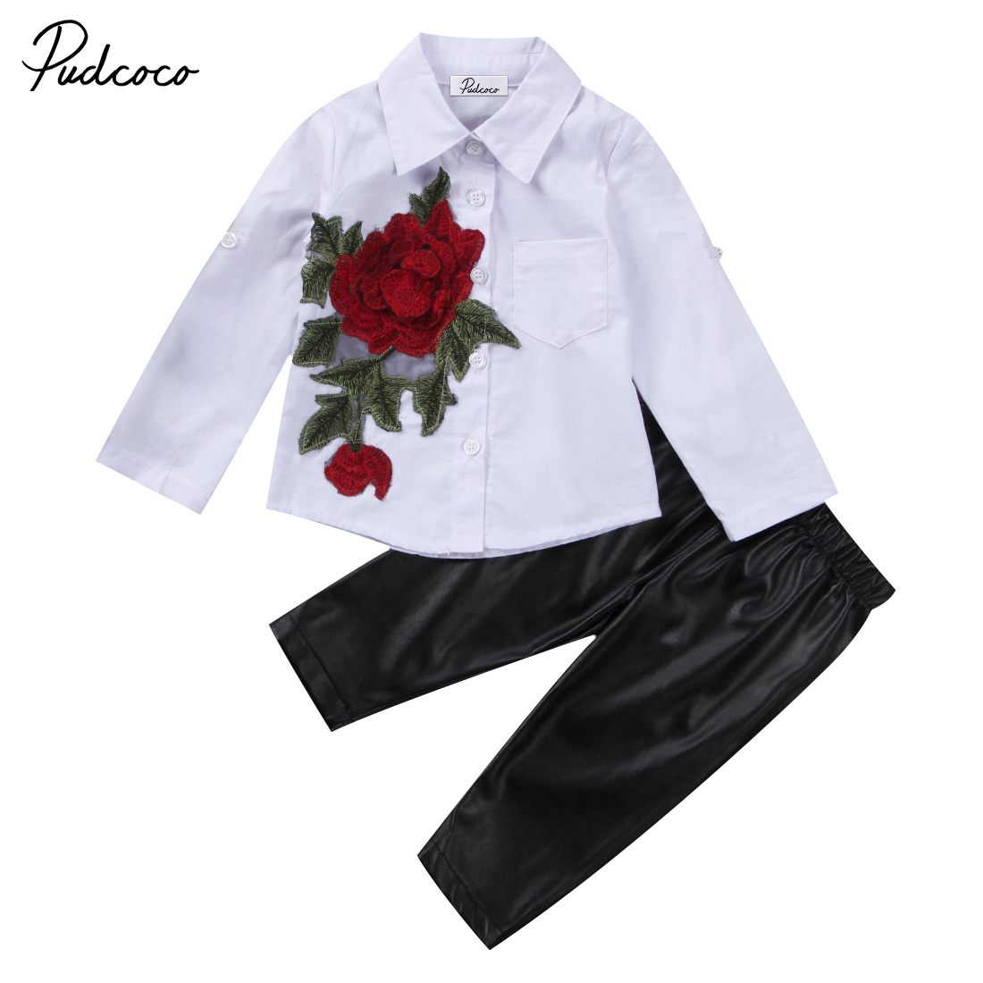 2PCS Fashion Children Girls Clothes Long Sleeve Embroidery Rose Flower Shirt Tops +PU Leather Legging Pant Kid Clothing Set family fashion summer tops 2015 clothers short sleeve t shirt stripe navy style shirt clothes for mother dad and children
