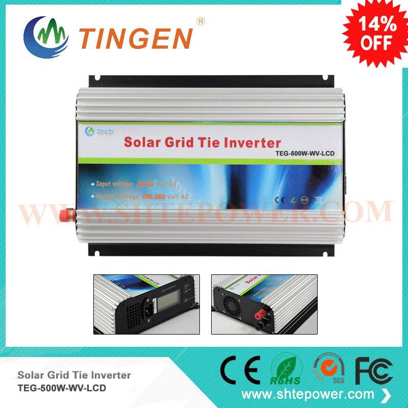 Onduleur de grille avec affichage lcd pour panneau solaire 500 w dc 22-60 entrée à sortie 90-160 v 190-260 v