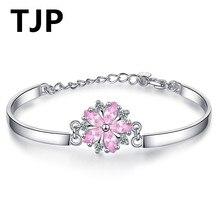 TJP New Arrival Pink Crystal Bracelets For Women Jewelry Flower Zircon Hot 925 Silver Girl Bride Wedding Party Bijou